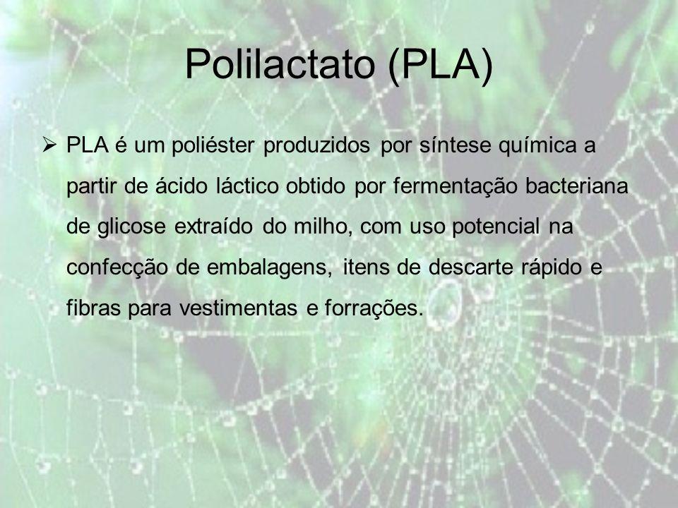 Polilactato (PLA) PLA é um poliéster produzidos por síntese química a partir de ácido láctico obtido por fermentação bacteriana de glicose extraído do milho, com uso potencial na confecção de embalagens, itens de descarte rápido e fibras para vestimentas e forrações.