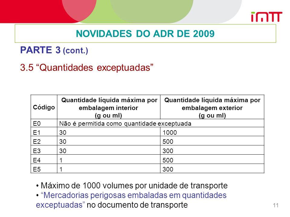 11 NOVIDADES DO ADR DE 2009 PARTE 3 (cont.) 3.5 Quantidades exceptuadas Código Quantidade líquida máxima por embalagem interior (g ou ml) Quantidade líquida máxima por embalagem exterior (g ou ml) E0 Não é permitida como quantidade exceptuada E1 30 1000 E2 30 500 E3 30 300 E4 1 500 E5 1 300 Máximo de 1000 volumes por unidade de transporte Mercadorias perigosas embaladas em quantidades exceptuadas no documento de transporte