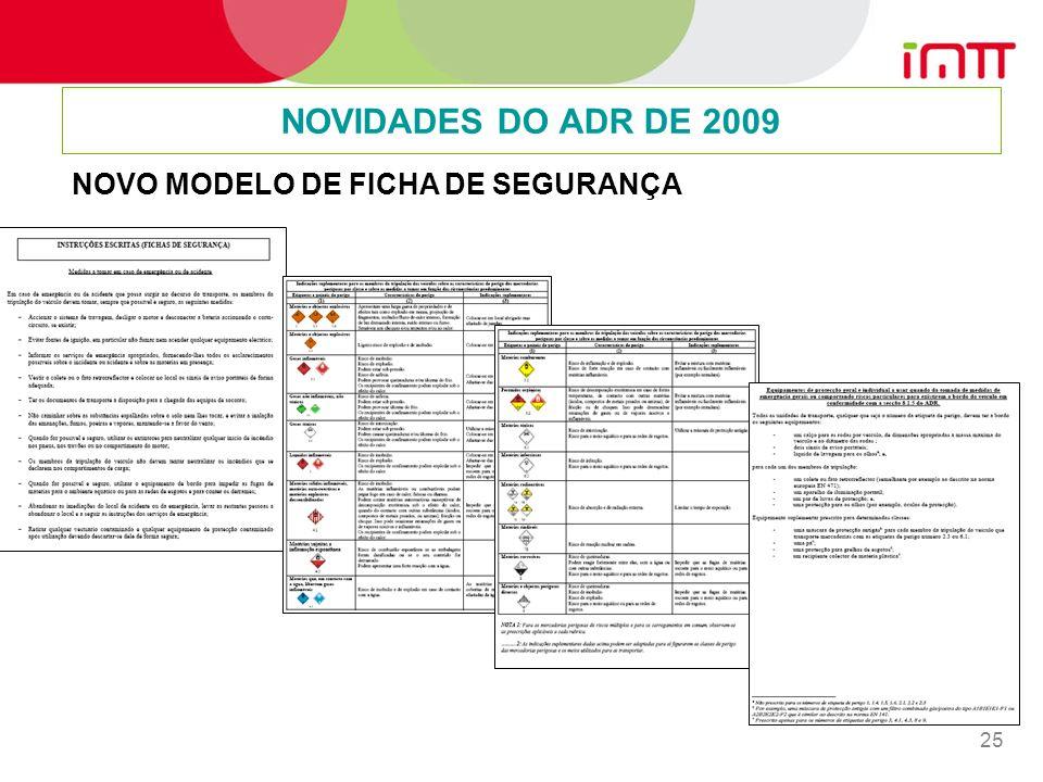25 NOVIDADES DO ADR DE 2009 NOVO MODELO DE FICHA DE SEGURANÇA