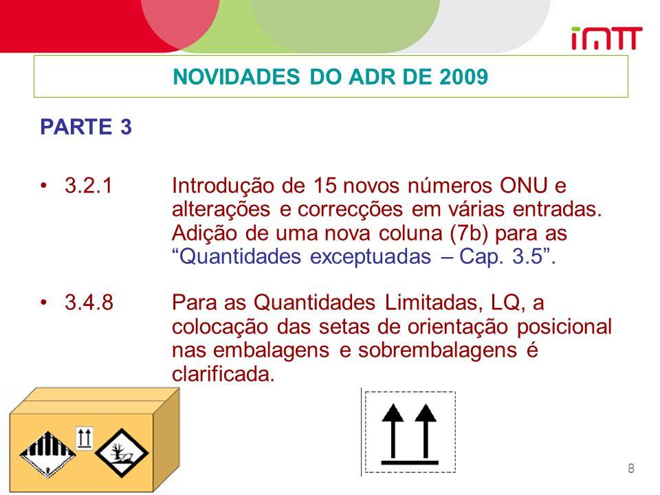 8 PARTE 3 3.2.1 Introdução de 15 novos números ONU e alterações e correcções em várias entradas.