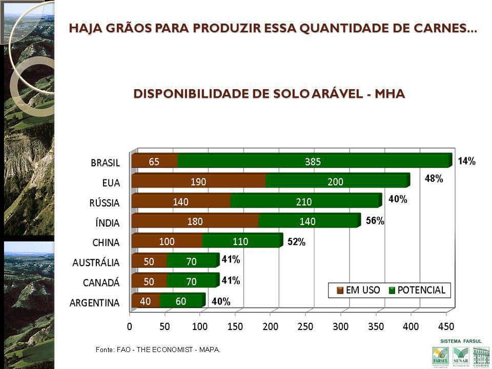 DISPONIBILIDADE DE SOLO ARÁVEL - MHA HAJA GRÃOS PARA PRODUZIR ESSA QUANTIDADE DE CARNES...