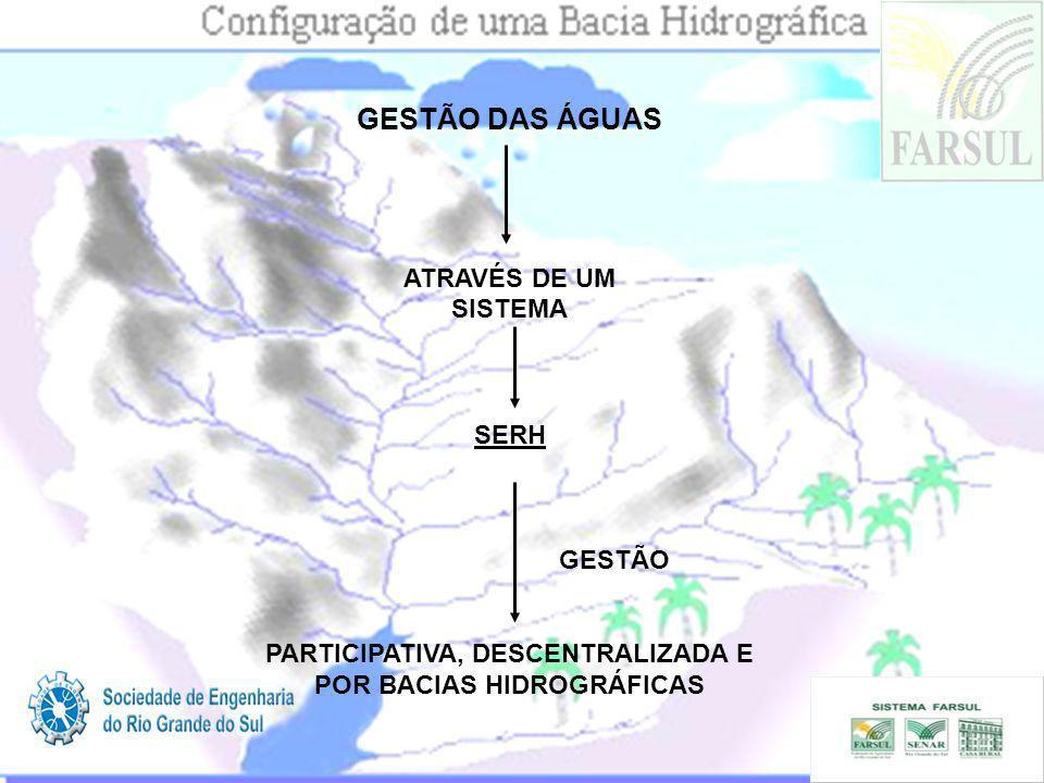 GESTÃO DAS ÁGUAS ATRAVÉS DE UM SISTEMA SERH GESTÃO PARTICIPATIVA, DESCENTRALIZADA E POR BACIAS HIDROGRÁFICAS