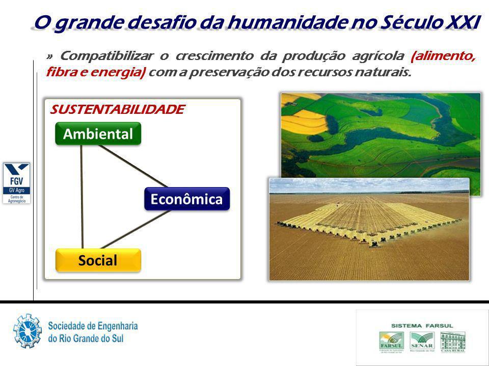 7 O grande desafio da humanidade no Século XXI » Compatibilizar o crescimento da produção agrícola (alimento, fibra e energia) com a preservação dos recursos naturais.