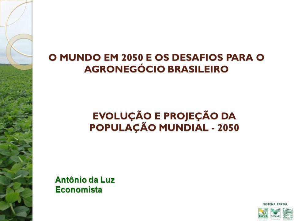 O MUNDO EM 2050 E OS DESAFIOS PARA O AGRONEGÓCIO BRASILEIRO Antônio da Luz Economista EVOLUÇÃO E PROJEÇÃO DA POPULAÇÃO MUNDIAL - 2050