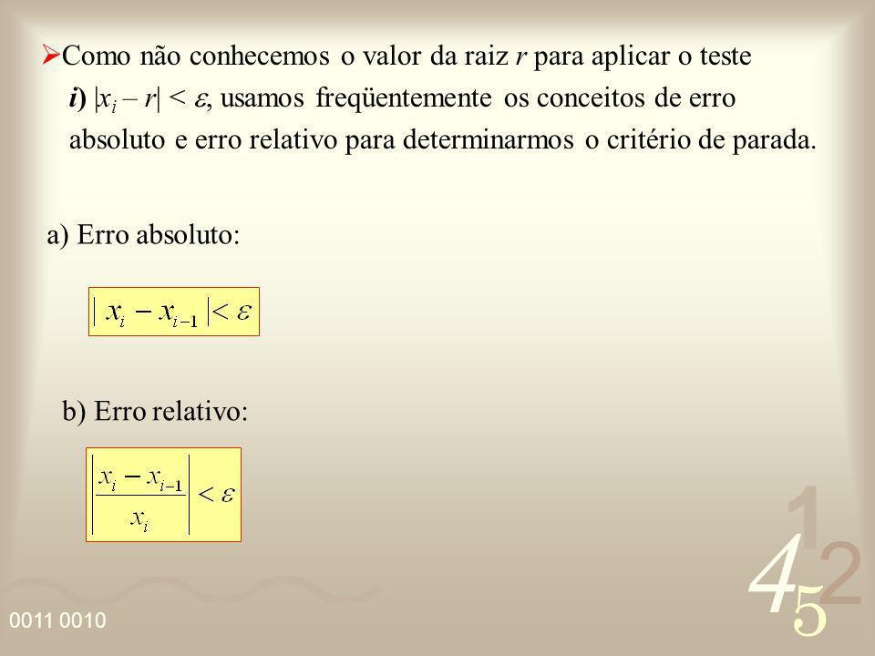 4 2 5 1 0011 0010 Como não conhecemos o valor da raiz r para aplicar o teste i) |x i – r| <, usamos freqüentemente os conceitos de erro absoluto e err