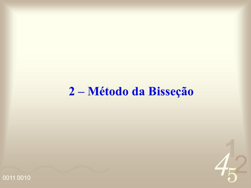 4 2 5 1 0011 0010 2 – Método da Bisseção