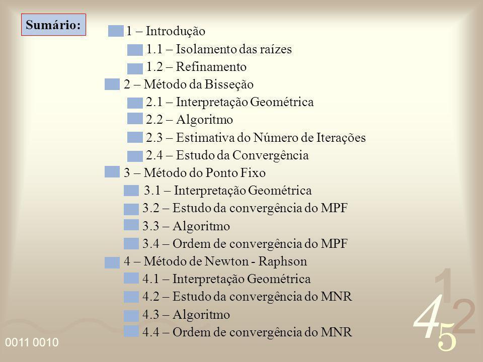 4 2 5 1 0011 0010 1 – Introdução 1.1 – Isolamento das raízes 1.2 – Refinamento 2 – Método da Bisseção 2.1 – Interpretação Geométrica 2.2 – Algoritmo 2