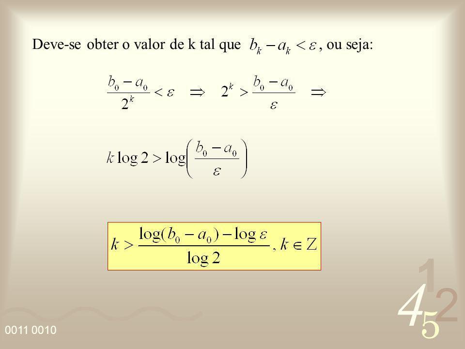 4 2 5 1 0011 0010 Deve-se obter o valor de k tal que, ou seja: