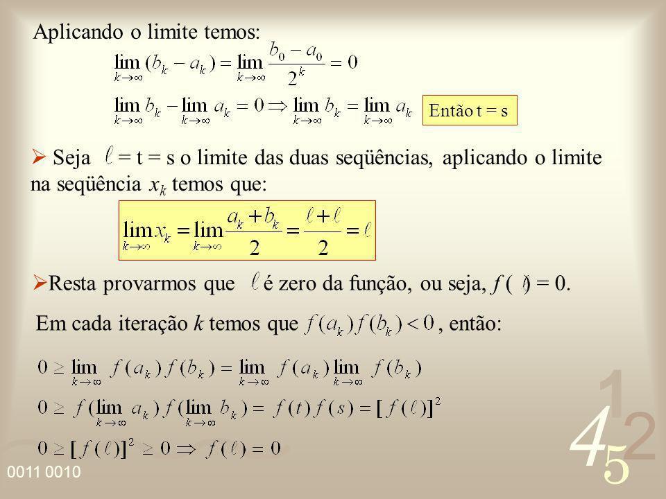 4 2 5 1 0011 0010 Aplicando o limite temos: Seja = t = s o limite das duas seqüências, aplicando o limite na seqüência x k temos que: Então t = s Rest