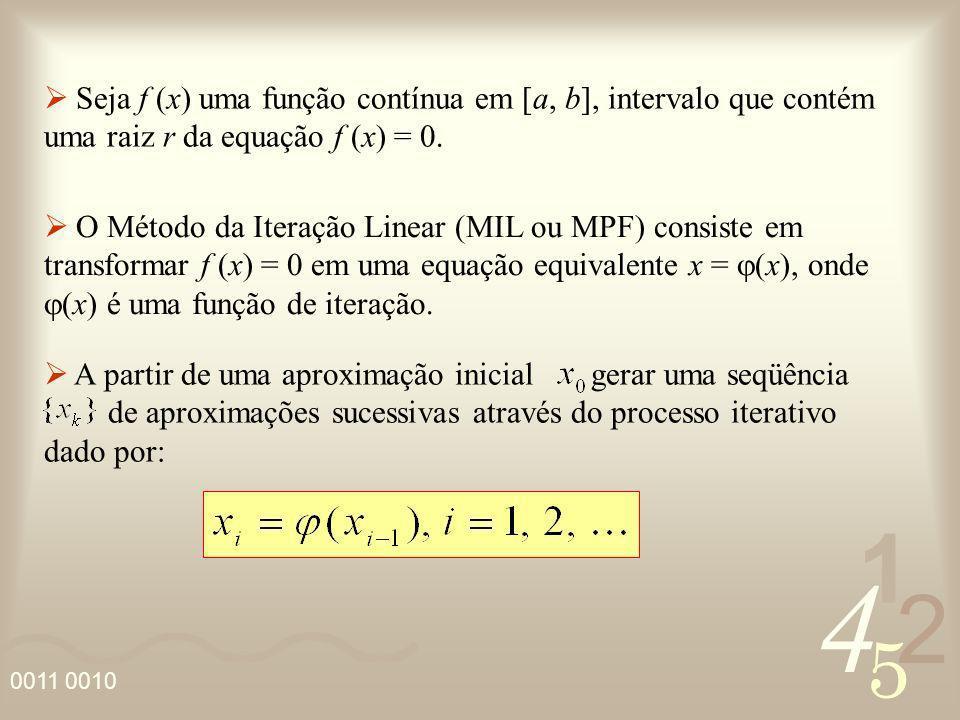 4 2 5 1 Seja f (x) uma função contínua em [a, b], intervalo que contém uma raiz r da equação f (x) = 0. O Método da Iteração Linear (MIL ou MPF) consi