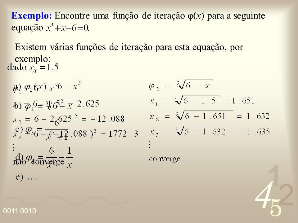 4 2 5 1 0011 0010 Existem várias funções de iteração para esta equação, por exemplo: Exemplo: Encontre uma função de iteração (x) para a seguinte equa