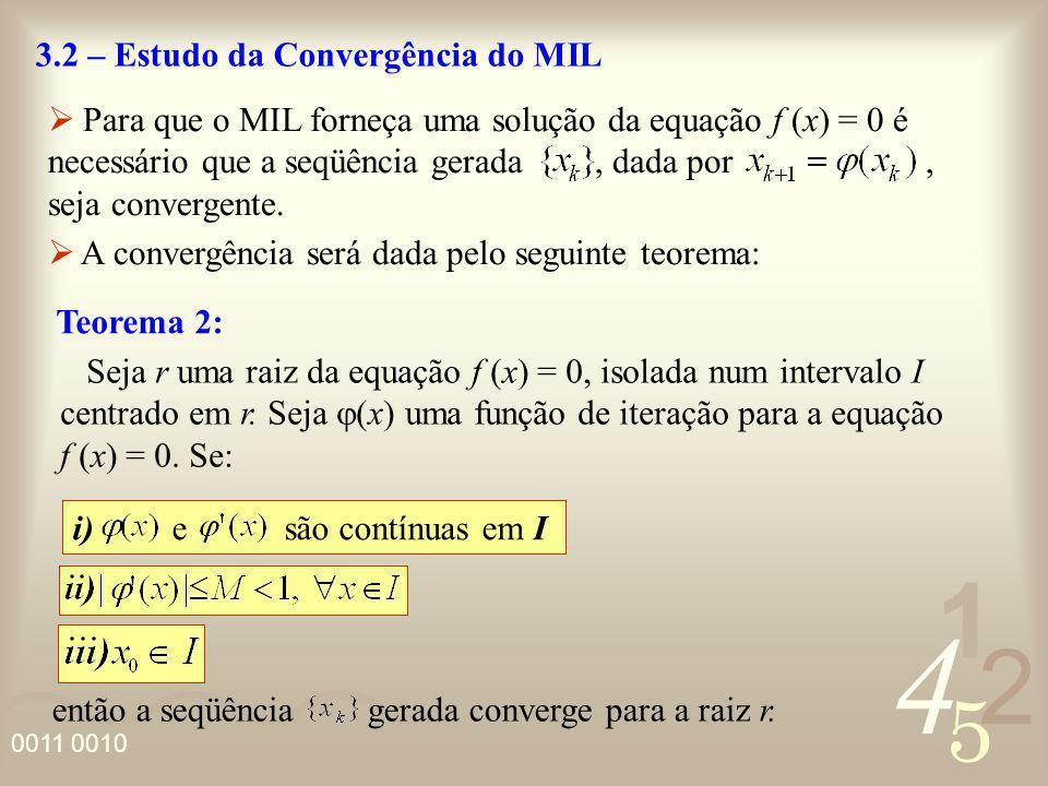 4 2 5 1 0011 0010 Teorema 2: i) e são contínuas em I então a seqüência gerada converge para a raiz r. 3.2 – Estudo da Convergência do MIL Para que o M