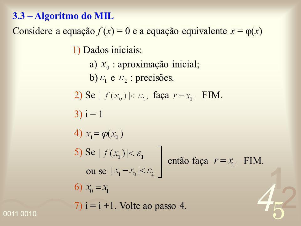 4 2 5 1 0011 0010 3.3 – Algoritmo do MIL Considere a equação f (x) = 0 e a equação equivalente x = x) 1) Dados iniciais: a) : aproximação inicial; 2)