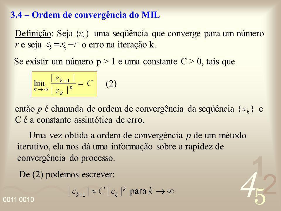 4 2 5 1 0011 0010 3.4 – Ordem de convergência do MIL Definição: Seja uma seqüência que converge para um número r e seja o erro na iteração k. Se exist