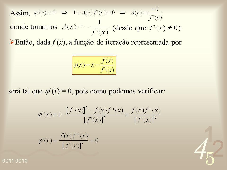 4 2 5 1 0011 0010 Então, dada f (x), a função de iteração representada por Assim, donde tomamos será tal que (r) = 0, pois como podemos verificar: