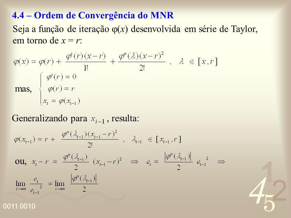 4 2 5 1 0011 0010 4.4 – Ordem de Convergência do MNR Seja a função de iteração (x) desenvolvida em série de Taylor, em torno de x = r: mas, Generaliza