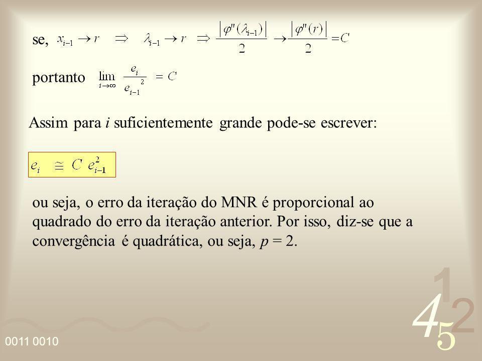 4 2 5 1 0011 0010 se, portanto Assim para i suficientemente grande pode-se escrever: ou seja, o erro da iteração do MNR é proporcional ao quadrado do