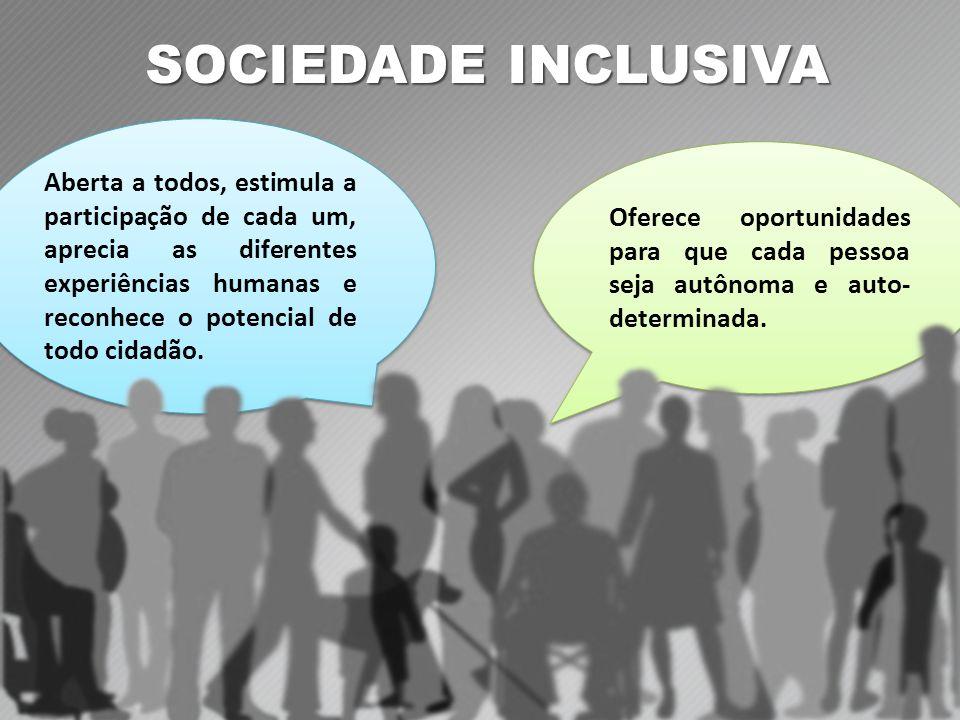SOCIEDADE INCLUSIVA Oferece oportunidades para que cada pessoa seja autônoma e auto- determinada.