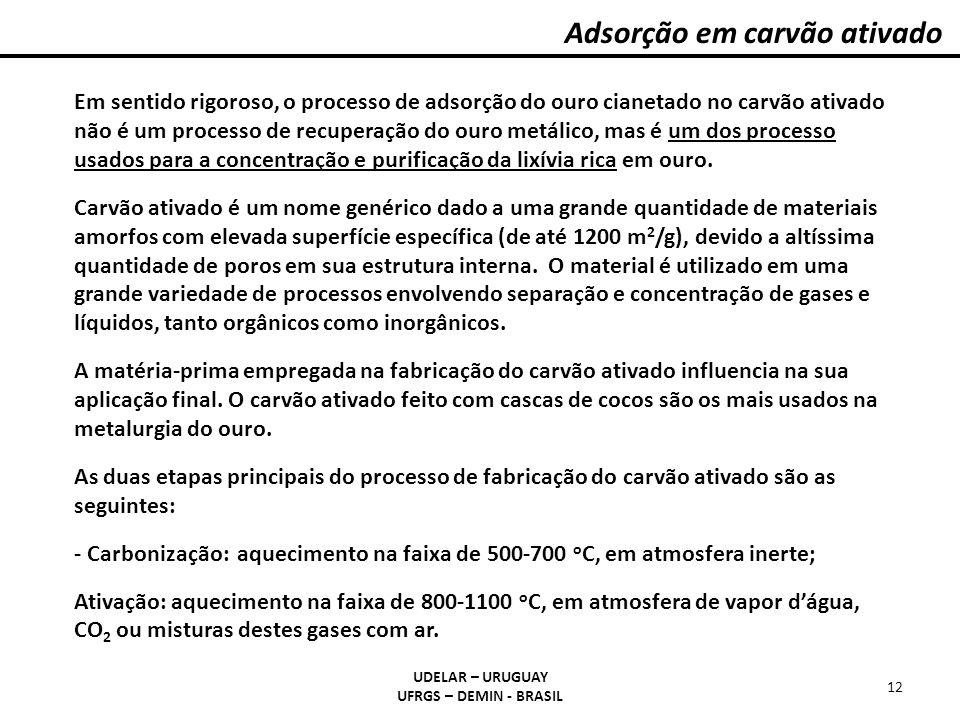 Adsorção em carvão ativado UDELAR – URUGUAY UFRGS – DEMIN - BRASIL 12 Em sentido rigoroso, o processo de adsorção do ouro cianetado no carvão ativado