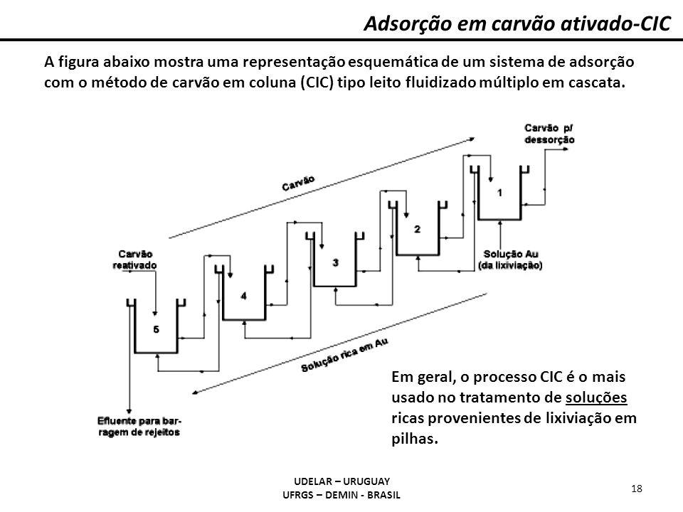 Adsorção em carvão ativado-CIC UDELAR – URUGUAY UFRGS – DEMIN - BRASIL 18 A figura abaixo mostra uma representação esquemática de um sistema de adsorç