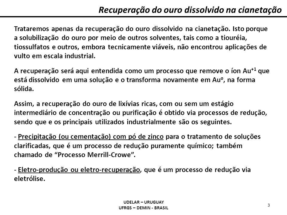 Recuperação do ouro dissolvido na cianetação UDELAR – URUGUAY UFRGS – DEMIN - BRASIL 3 Trataremos apenas da recuperação do ouro dissolvido na cianetaç