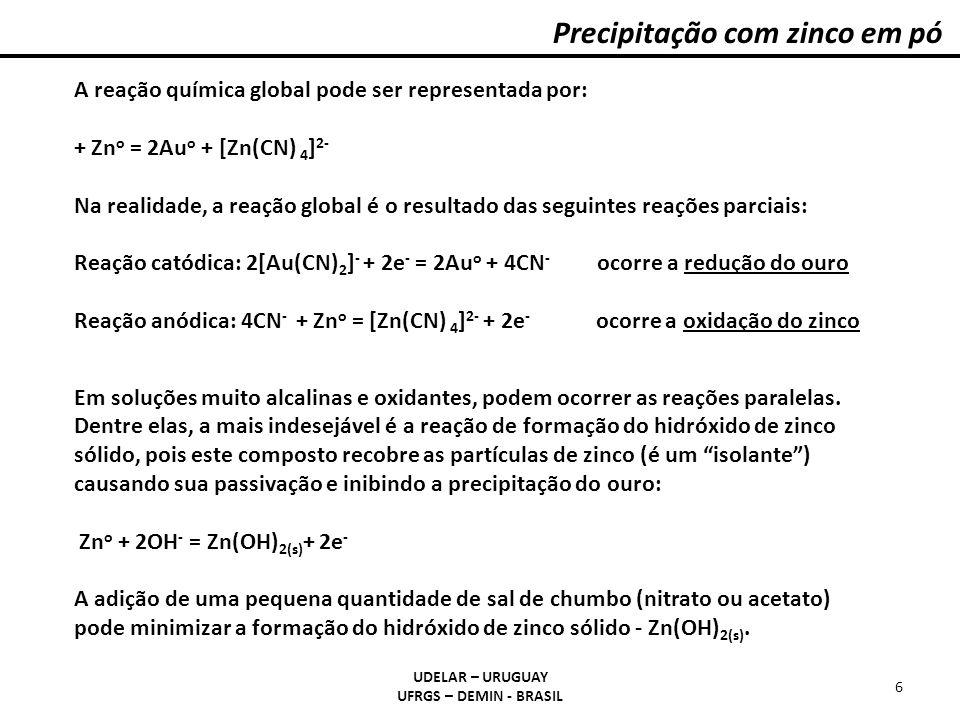 Precipitação com zinco em pó UDELAR – URUGUAY UFRGS – DEMIN - BRASIL 6 A reação química global pode ser representada por: + Zn o = 2Au o + [Zn(CN) 4 ]