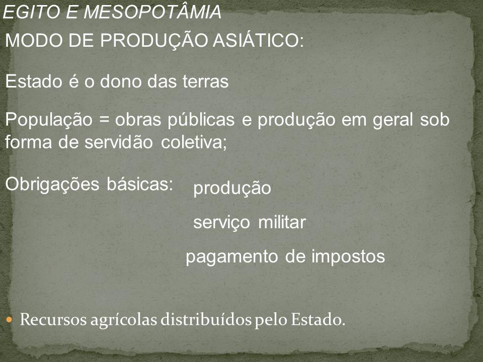 Recursos agrícolas distribuídos pelo Estado.