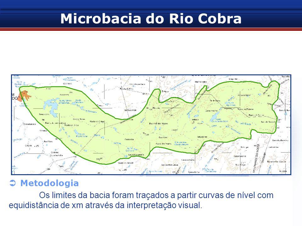 Microbacia do Rio Cobra 2. Delimitação gerada em 2006 – PRO-ÁGUA Metodologia Os limites da bacia foram traçados a partir curvas de nível com equidistâ