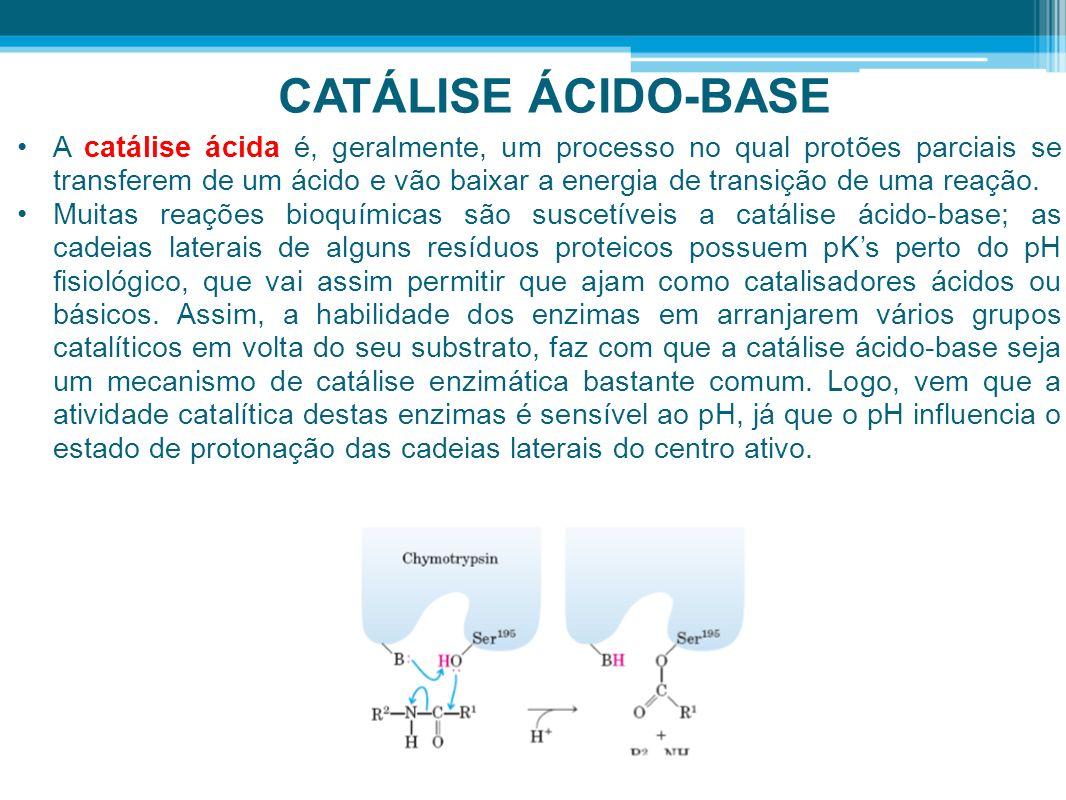 CATÁLISE ÁCIDO-BASE A catálise ácida é, geralmente, um processo no qual protões parciais se transferem de um ácido e vão baixar a energia de transição