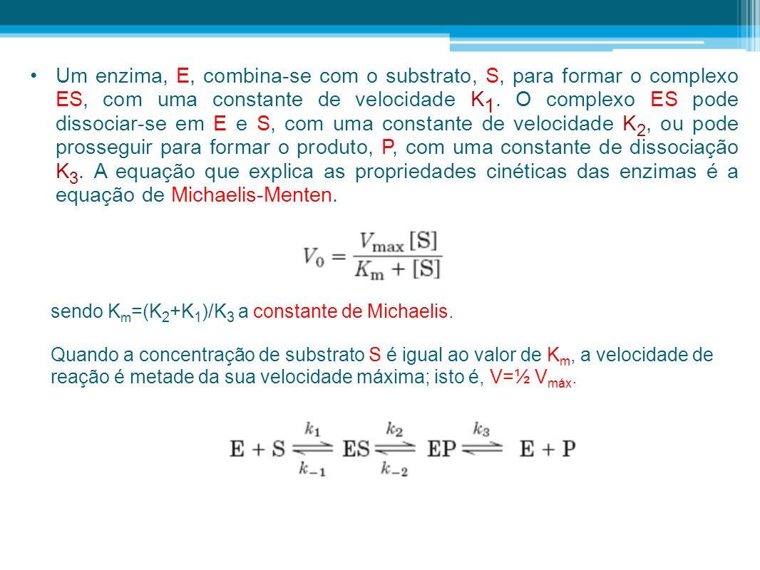 Um enzima, E, combina-se com o substrato, S, para formar o complexo ES, com uma constante de velocidade K 1. O complexo ES pode dissociar-se em E e S,
