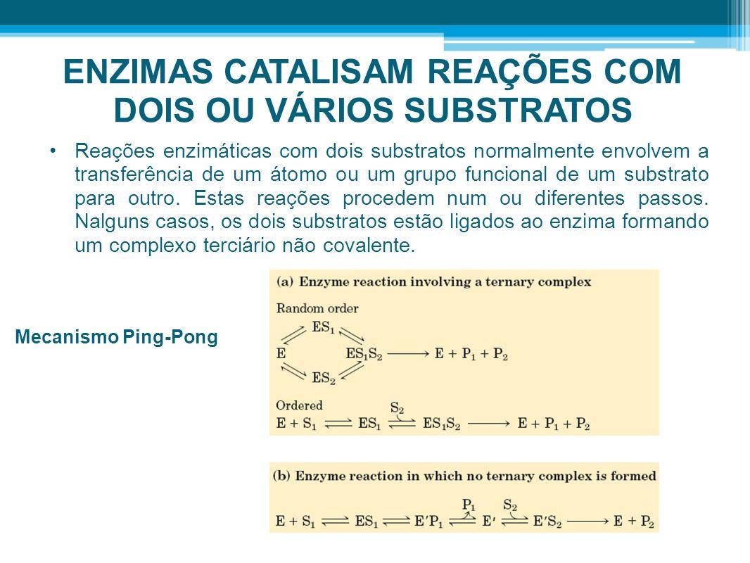 ENZIMAS CATALISAM REAÇÕES COM DOIS OU VÁRIOS SUBSTRATOS Reações enzimáticas com dois substratos normalmente envolvem a transferência de um átomo ou um