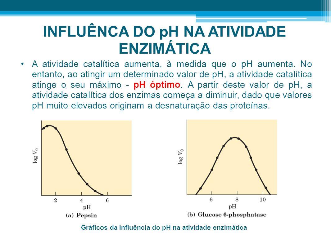 INFLUÊNCA DO pH NA ATIVIDADE ENZIMÁTICA A atividade catalítica aumenta, à medida que o pH aumenta. No entanto, ao atingir um determinado valor de pH,