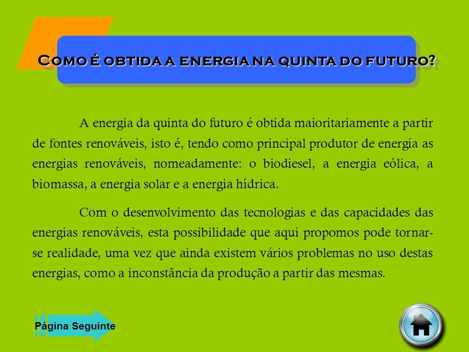 Como é obtida a energia na quinta do futuro? A energia da quinta do futuro é obtida maioritariamente a partir de fontes renováveis, isto é, tendo como