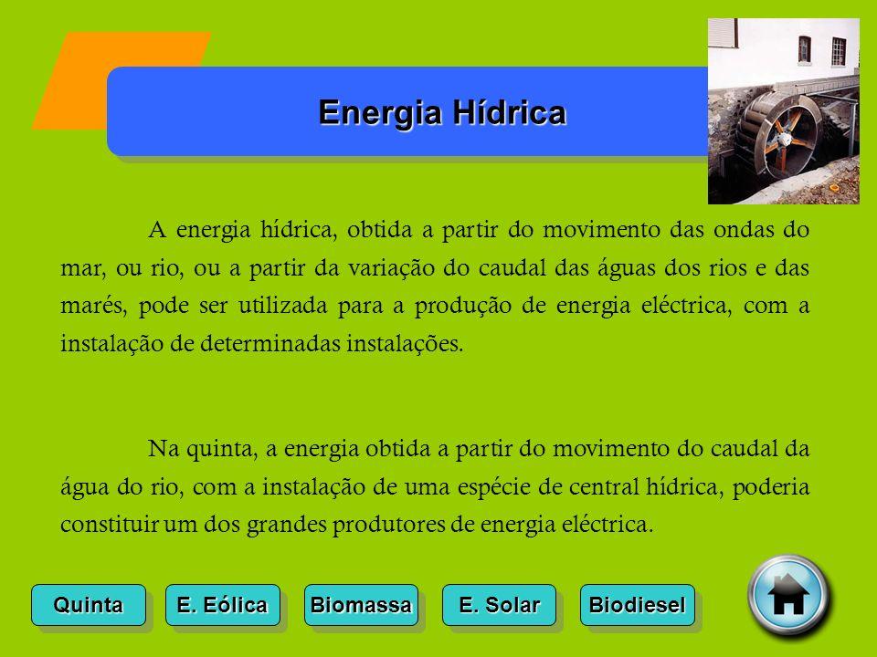 Quinta E. Eólica E. Eólica E. Eólica E. Eólica Biomassa E. Solar E. Solar E. Solar E. Solar Biodiesel Energia Hídrica A energia hídrica, obtida a part