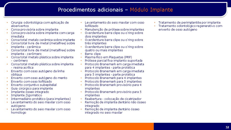 33 No PME e PME Mais o Prestige não possui cobertura para procedimentos de ortodontia, prótese e implante.