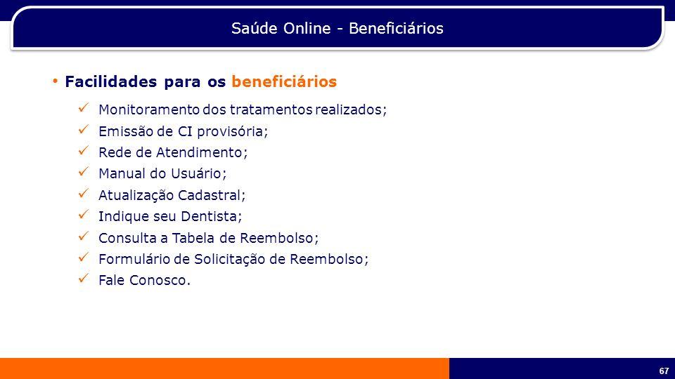 68 Saúde Online – RH (Gestão compartilhada) Facilidades para o gestor do benefício Movimentação de beneficiários; Emissão de CI provisória; 2ª.