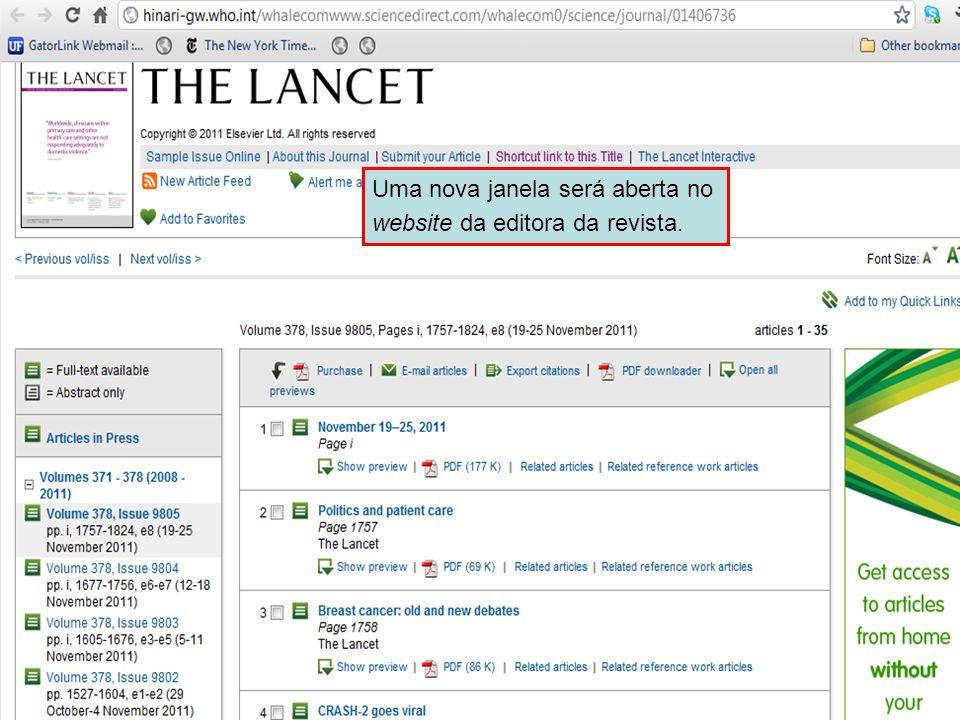 Accessing journals by title 4 Uma nova janela será aberta no website da editora da revista.