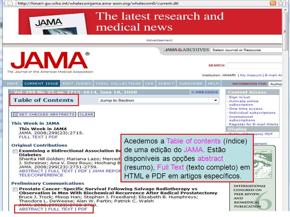 Acedemos a Table of contents (índice) de uma edição do JAMA. Estão disponíveis as opções abstract (resumo), Full Text (texto completo) em HTML e PDF e