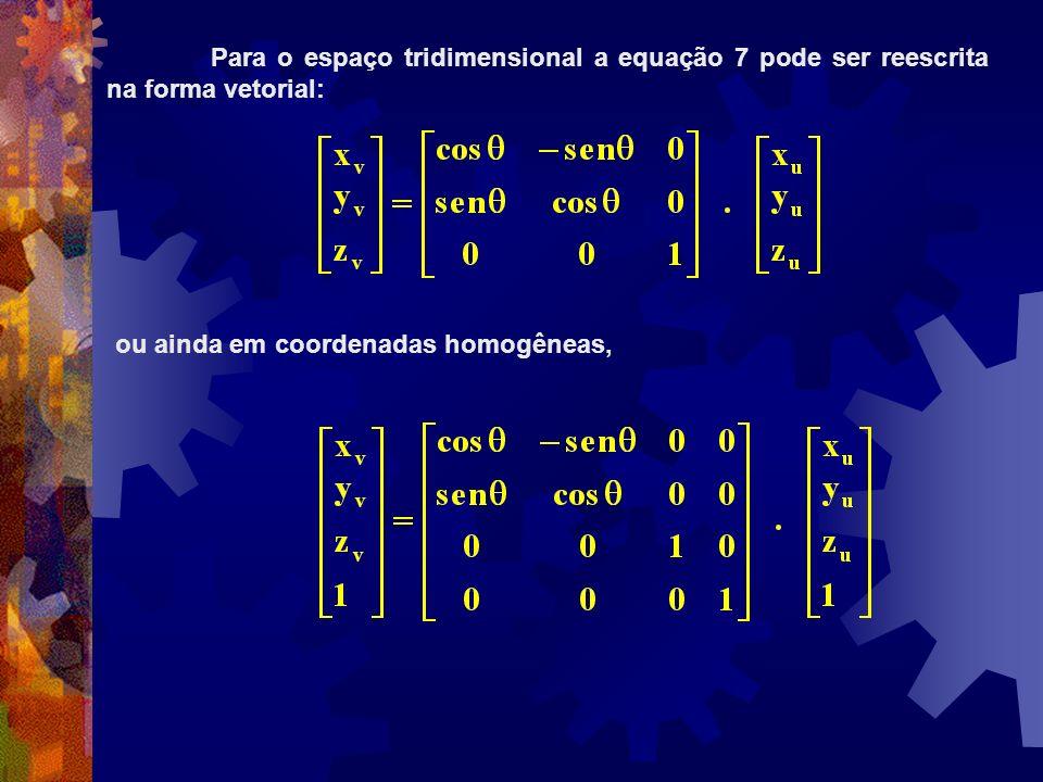 Para o espaço tridimensional a equação 7 pode ser reescrita na forma vetorial: ou ainda em coordenadas homogêneas,