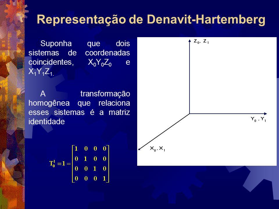 Representação de Denavit-Hartemberg Suponha que dois sistemas de coordenadas coincidentes, X 0 Y 0 Z 0 e X 1 Y 1 Z 1. A transformação homogênea que re