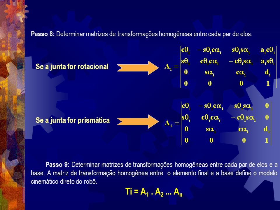 Passo 8: Determinar matrizes de transformações homogêneas entre cada par de elos. Passo 9: Determinar matrizes de transformações homogêneas entre cada