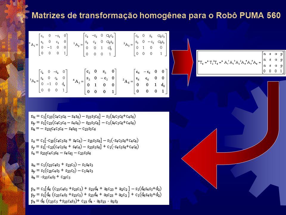Matrizes de transformação homogênea para o Robô PUMA 560