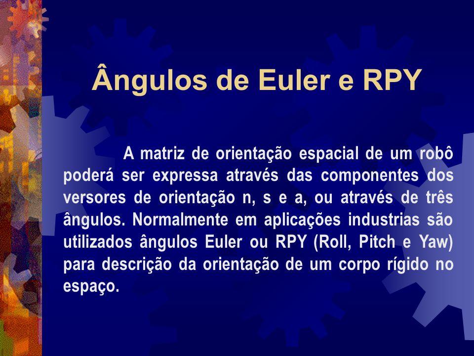 Ângulos de Euler e RPY A matriz de orientação espacial de um robô poderá ser expressa através das componentes dos versores de orientação n, s e a, ou