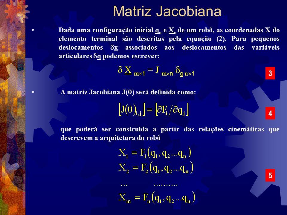 Matriz Jacobiana Dada uma configuração inicial q o e X o de um robô, as coordenadas X do elemento terminal são descritas pela equação (2). Para pequen