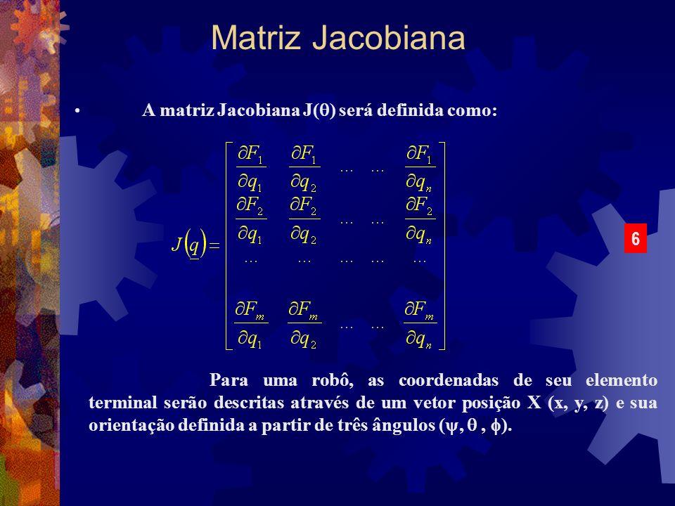 A matriz Jacobiana J( ) será definida como: Matriz Jacobiana Para uma robô, as coordenadas de seu elemento terminal serão descritas através de um veto