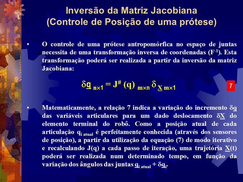 Inversão da Matriz Jacobiana (Controle de Posição de uma prótese) O controle de uma prótese antropomórfica no espaço de juntas necessita de uma transf