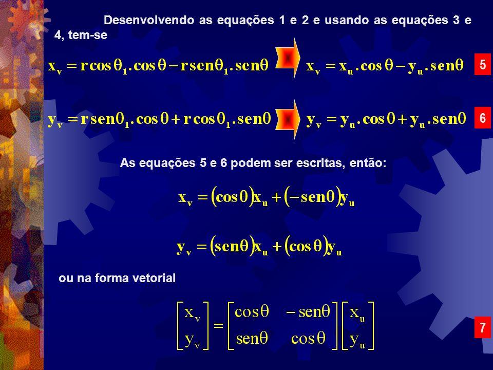 Desenvolvendo as equações 1 e 2 e usando as equações 3 e 4, tem-se 5 6 As equações 5 e 6 podem ser escritas, então: ou na forma vetorial 7
