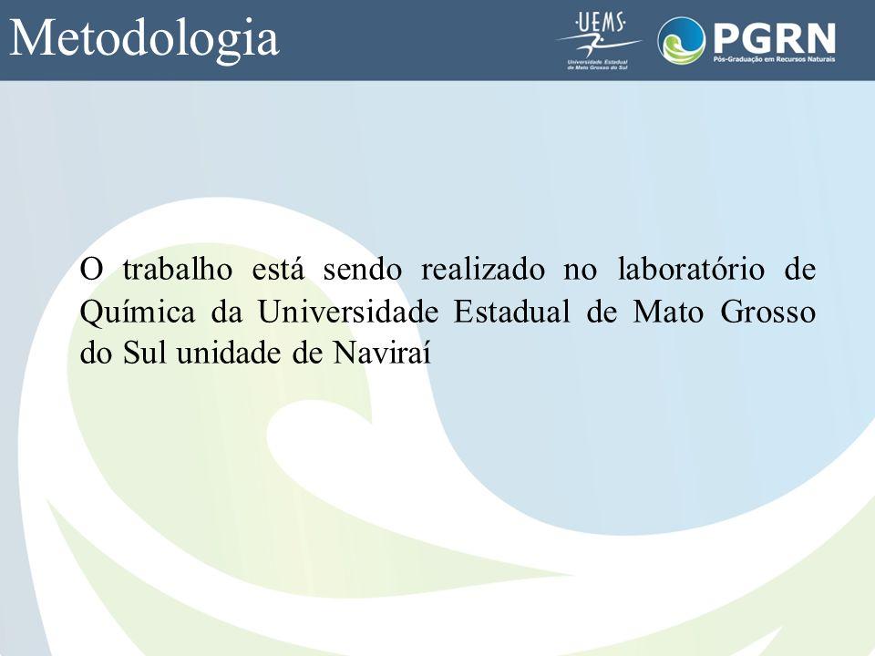 Metodologia O trabalho está sendo realizado no laboratório de Química da Universidade Estadual de Mato Grosso do Sul unidade de Naviraí