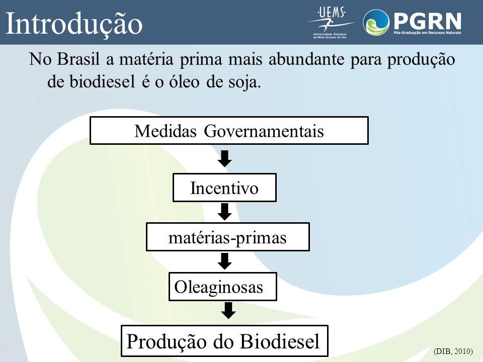 No Brasil a matéria prima mais abundante para produção de biodiesel é o óleo de soja. Introdução Medidas Governamentais Incentivo matérias-primas Olea