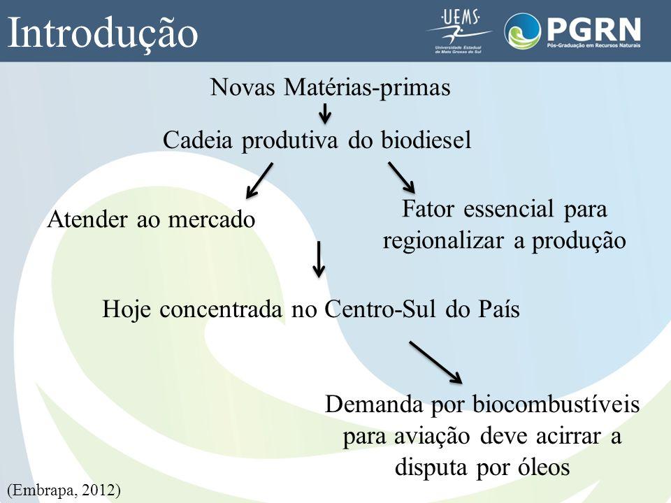 Introdução Novas Matérias-primas Cadeia produtiva do biodiesel Atender ao mercado Fator essencial para regionalizar a produção Hoje concentrada no Cen